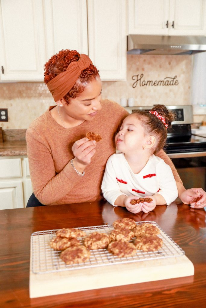 mom and daughter baking Gluten free oatmeal cookies