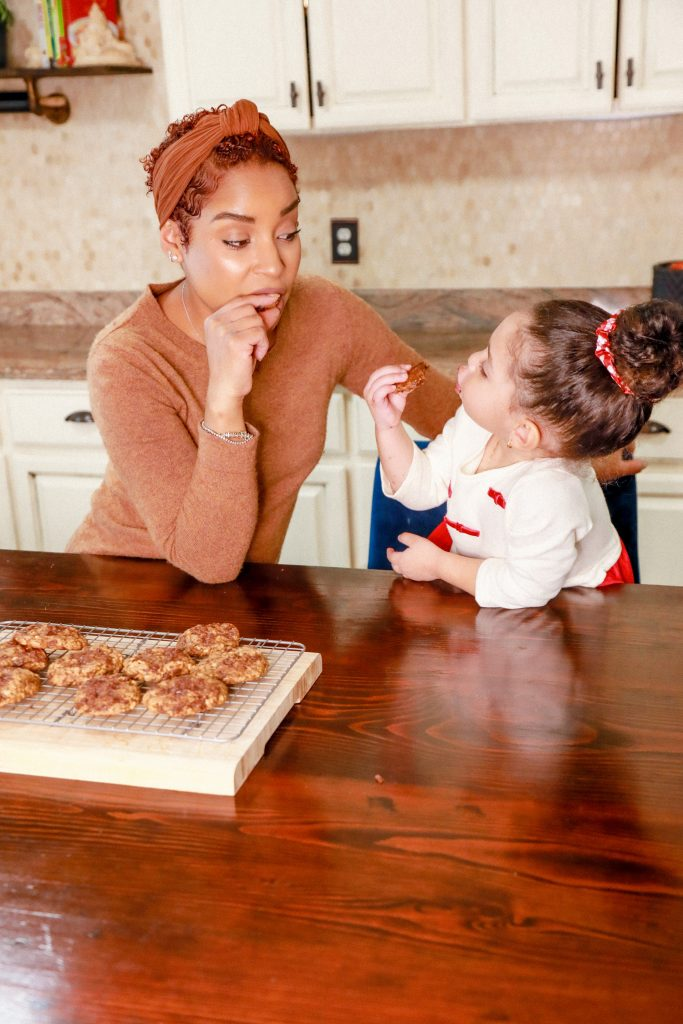 Gluten free baked chocolate chip oatmeal cookies.