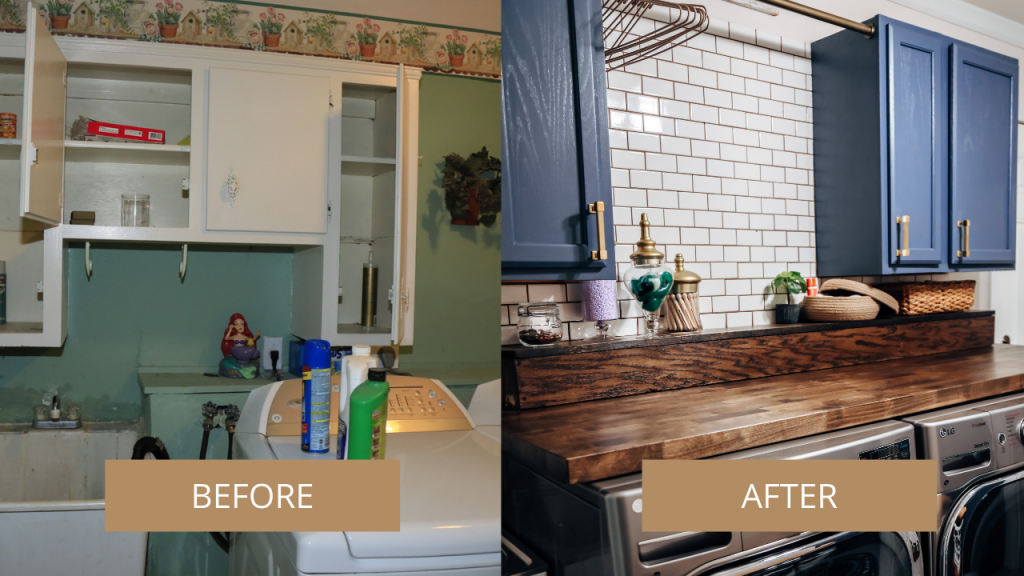 laundry room before and after renovation